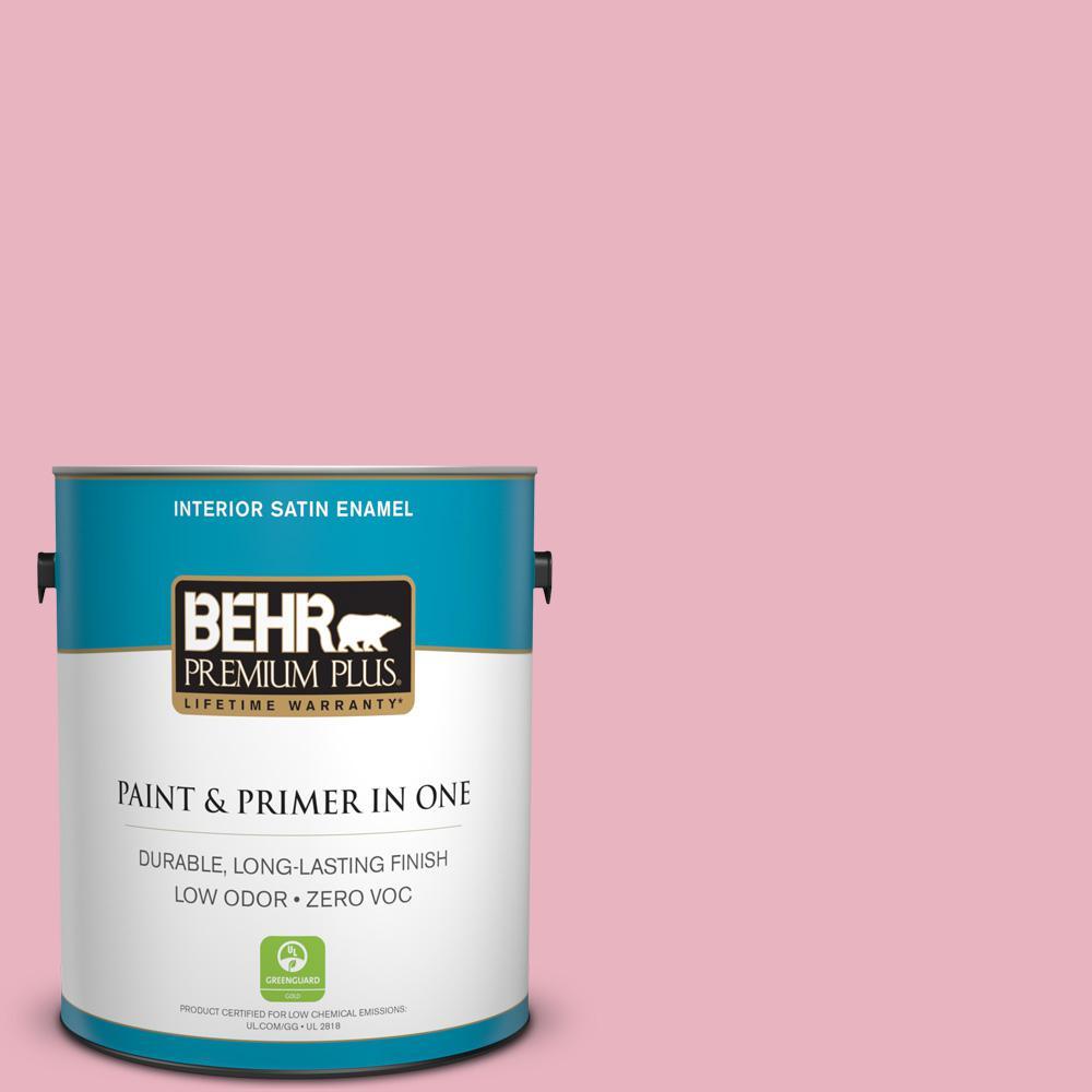 1 gal. #M140-3 Premium Pink Satin Enamel Zero VOC Interior Paint