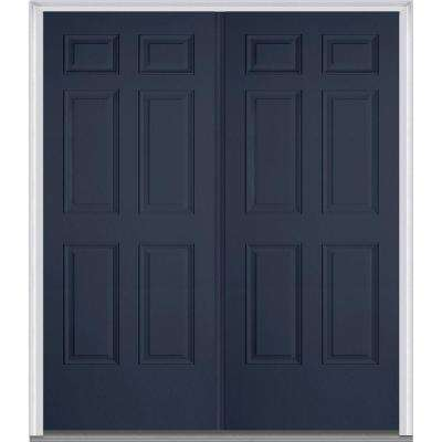 72 in. x 80 in. Right-Hand Inswing 6-Panel Classic Painted Fiberglass Smooth Prehung Front Door