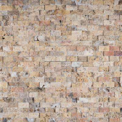Scabas Split Face 11.4 in. x 10.8 in. x 8mm Travertine Mesh-Mounted Mosaic Wall Tile (4.3 sq. ft. / case)