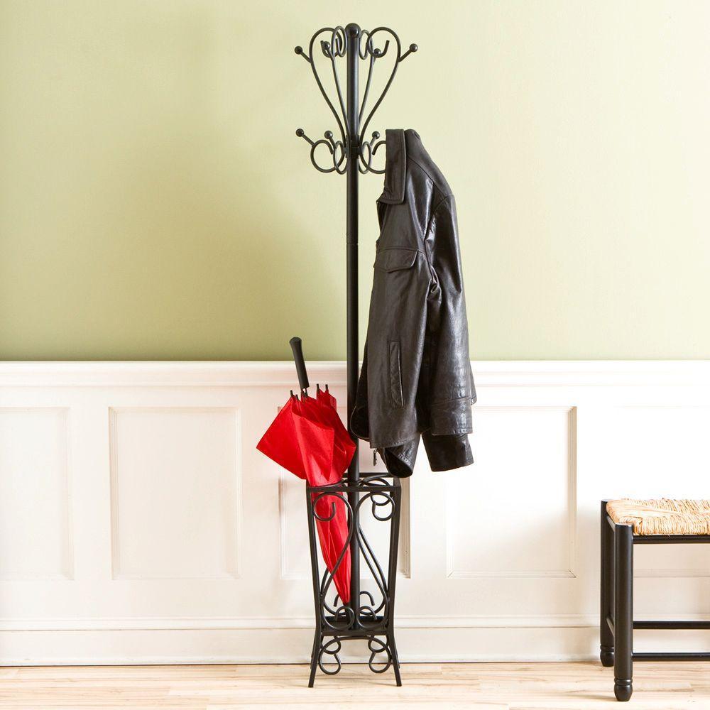 8-Hook Scrolled Metal Coat Rack with Umbrella Storage in Black