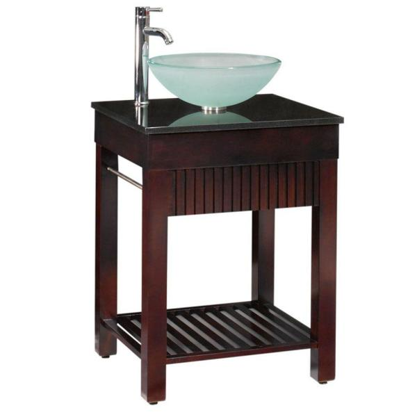 Lofty 25 in. W x 22 in. D Bath Vanity in Dark Walnut with Granite Vanity Top in Black