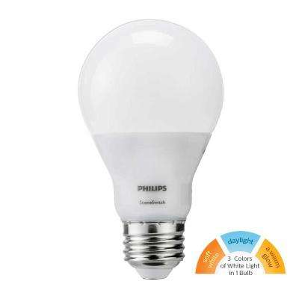 60W Equivalent Daylight/Soft White/Warm Glow Scene Switch A19 LED Energy Star Light Bulb