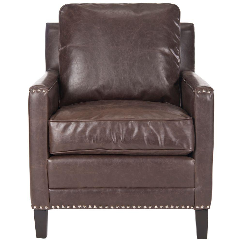 Safavieh Buckler Antique Brown/Espresso Bicast Leather Arm Chair - Safavieh Buckler Antique Brown/Espresso Bicast Leather Arm Chair