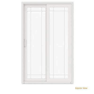 72 in. x 96 in. V-4500 White Vinyl Right-Hand 9 Lite Sliding Patio Door