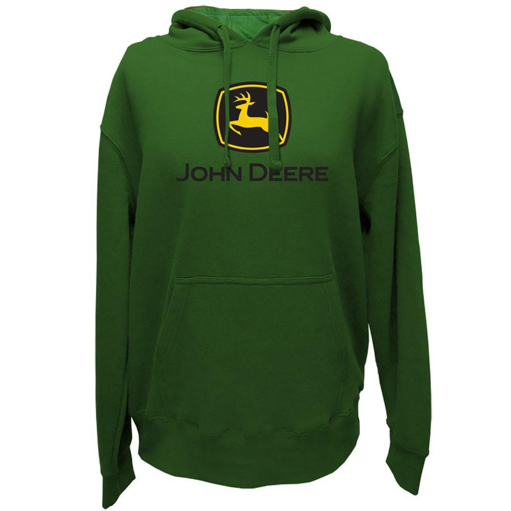 John Deere Men's Pullover Hoodie in Green with Screen Print Trademark Logo - Large
