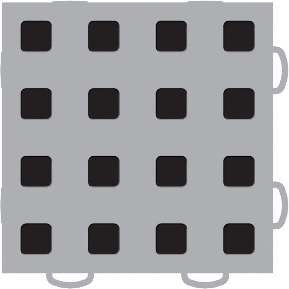 WeatherTech TechFloor 6 in. x 6 in. Grey/Black Vinyl Flooring Tiles (Quantity of 10)