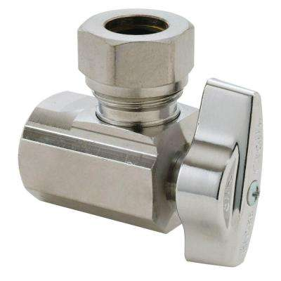 1/2 in. FIP Inlet x 7/16 in. and 1/2 in. O.D. Slip-Joint Outlet Brass 1/4-Turn Angle Ball Valve (5-Pack)