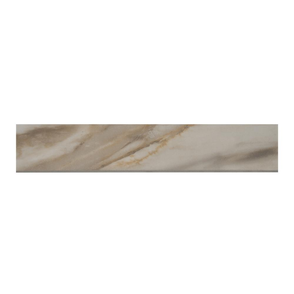 MSI Alicante Calacatta Bullnose 3 in. x 18 in. Glazed Porcelain Wall Tile (21 lin. ft. / case)
