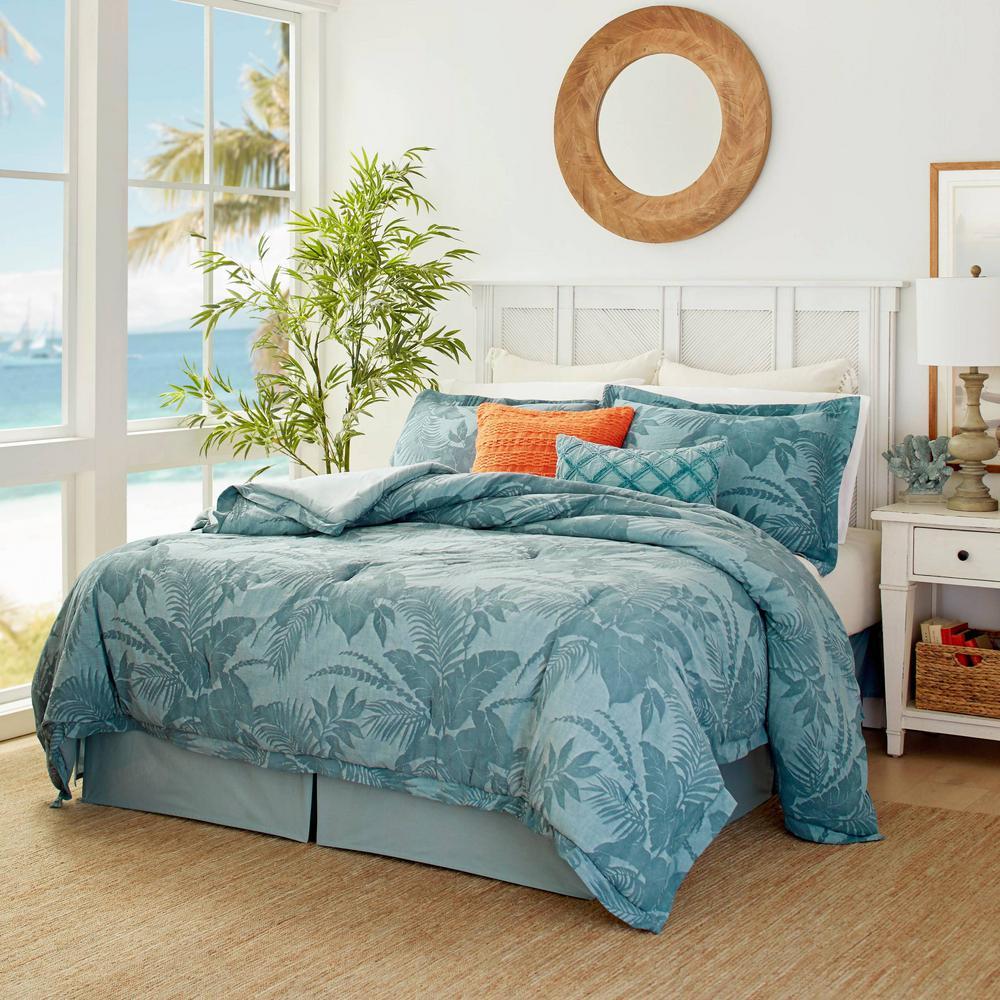 Blue Abalone Blue 4-Piece Cotton Comforter Set, Queen