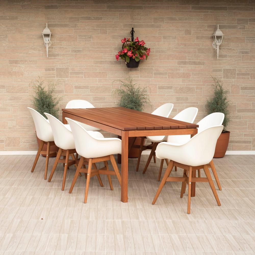Carilo Deluxe 9-Piece Wood Rectangular Outdoor Dining Set