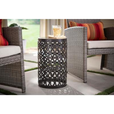 19.4 in. Seville Bronze Metal Outdoor Patio Garden Stool