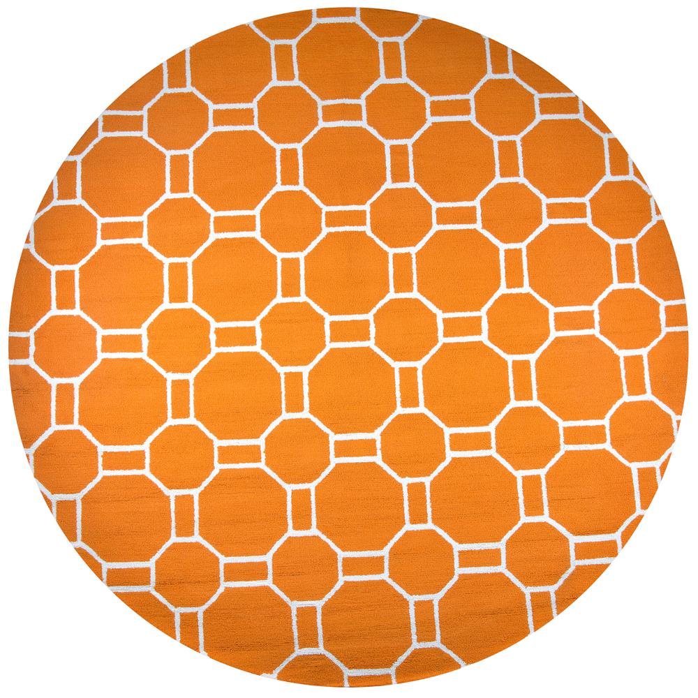 Rizzy home azzura hill orange geometric 8 ft x 8 ft for Geometric print area rugs