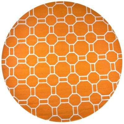 Azzura Hill Orange Geometric 8 ft. x 8 ft. Round Outdoor Area Rug