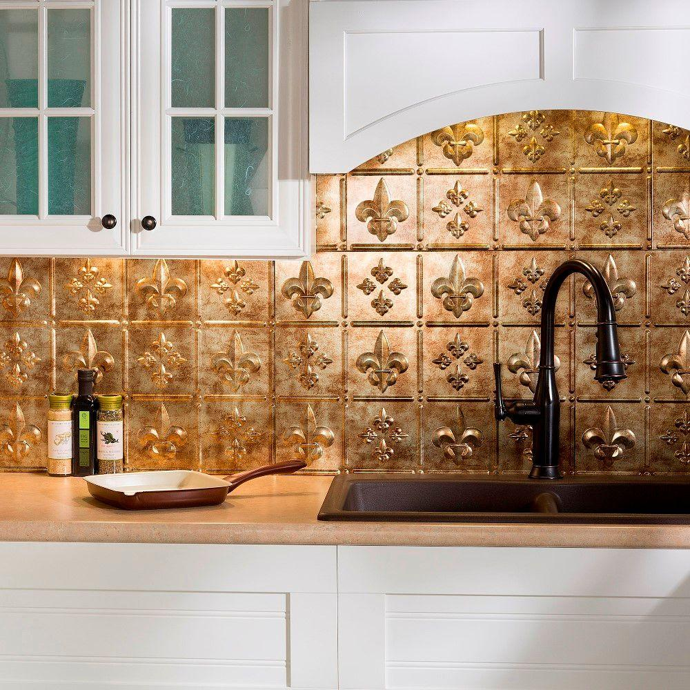 Fasade 24 in x 18 in fleur de lis pvc decorative tile - Decorative tile for backsplash in kitchens ...