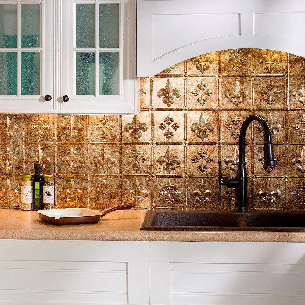 24 in. x 18 in. Fleur de Lis PVC Decorative Tile Backsplash in Bermuda Bronze