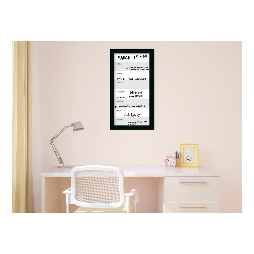 Amanti Art Grey Week Vertical Calendar 14 in. W x 26 in. H Framed ...