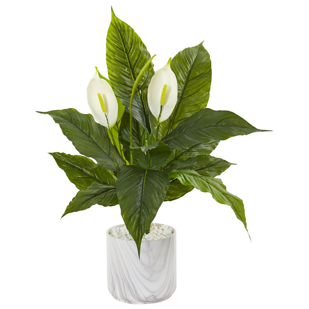 Indoor 27 in. Spathiphyllum Artificial Plant in Marble Vase