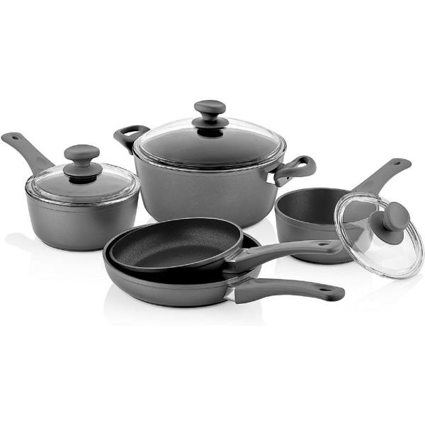 8-Piece Titanium Coated Aluminum Non-Stick Assorted Cookware Set in Gray with Glass Lids