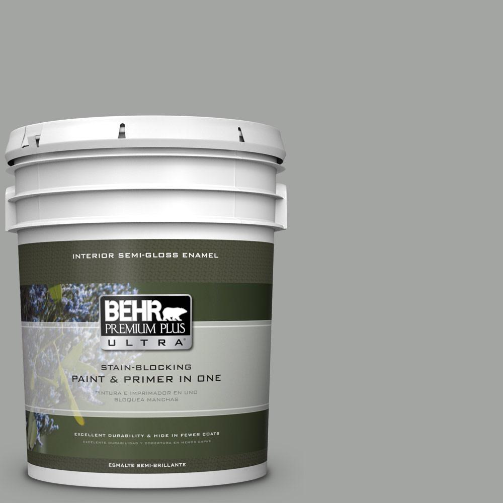 5 gal. #PPU24-18 Great Graphite Semi-Gloss Enamel Interior Paint