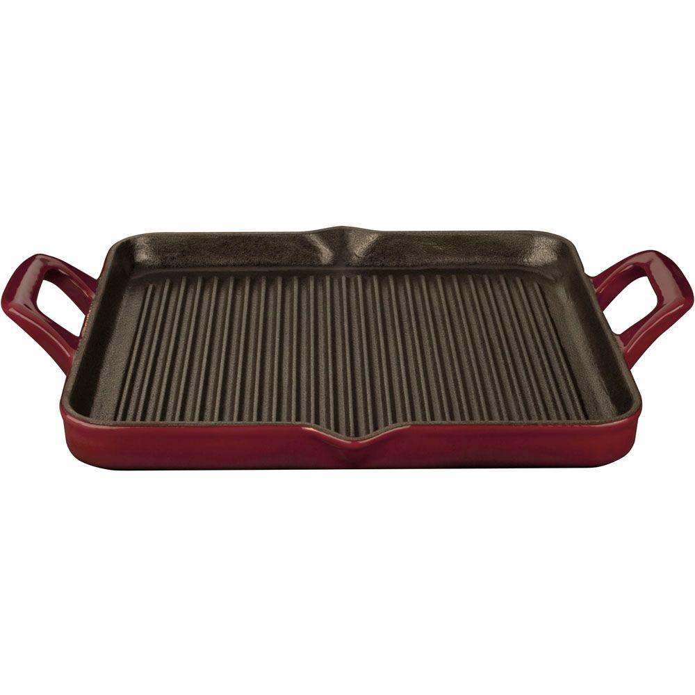 1 Qt. Cast Iron Rectangular Grill Pan with Ruby Enamel
