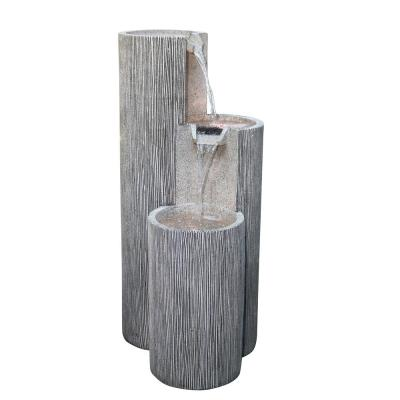 """Alpine Corporation 41"""" Tall Outdoor Tiering Column Zen Fountain with LED Lights"""