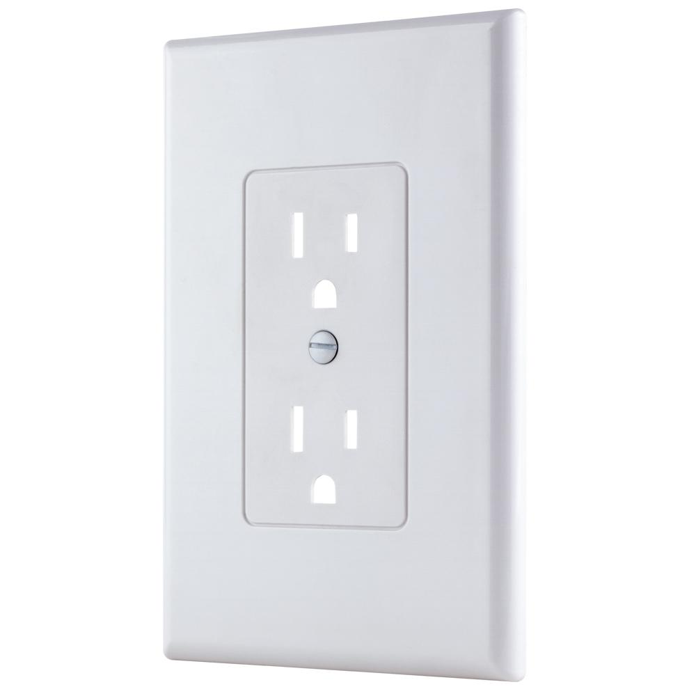 Commercial Electric 1 Gang Decorator Plastic Wall Plate White Smooth