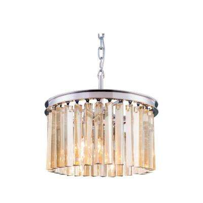 Sydney 3-Light Polished Nickel Chandelier with Golden Teak Smoky Crystal