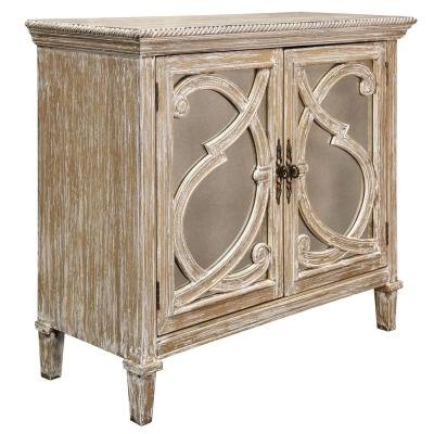 Naples Weathered Taupe 2-Door Mirrored Front Cabinet
