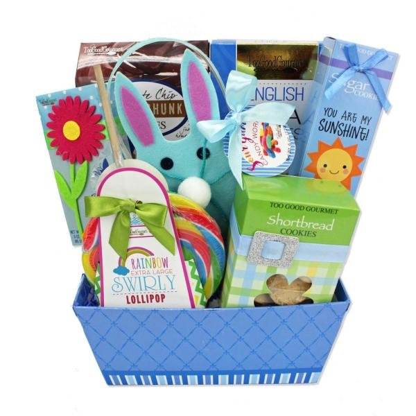 Too Good Gourmet, Inc. Blue Bunny Surprise 7-Piece Gift Basket with Delicious