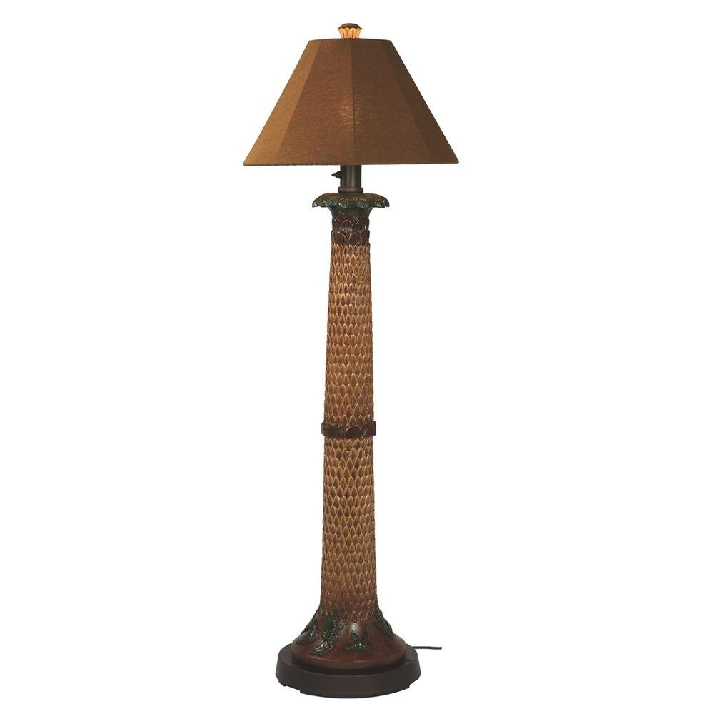 Beau Patio Living Concepts 60 In. Palm Bark Outdoor Floor Lamp With Teak Shade