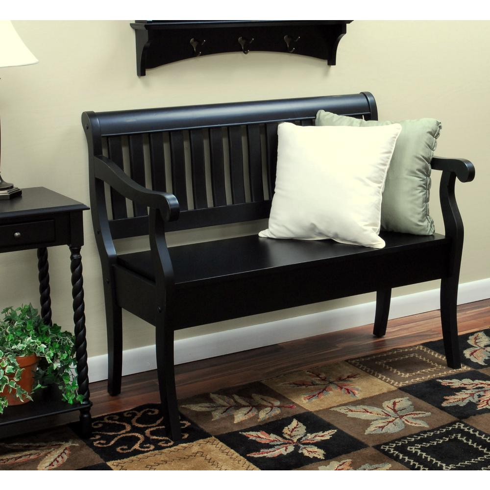Carolina Cottage Veranda Antique Black Storage Bench 4235