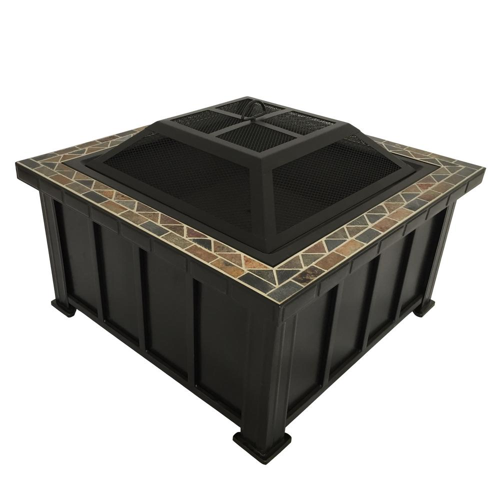 Hampton Bay. Devonport 30 in. x 21.25 in. Slate Fire Table in Oil Rubbed  Bronze - Hampton Bay Devonport 30 In. X 21.25 In. Slate Fire Table In Oil