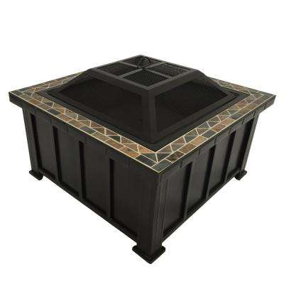 Devonport 30 in. x 21.25 in. Slate Fire Table in Oil Rubbed Bronze