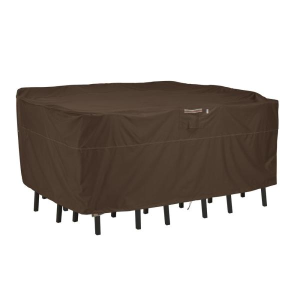 Madrona Rainproof 108 in. W x 86 in. D x 34 in. H Rectangular/Oval Patio Bar Table and Chair Cover