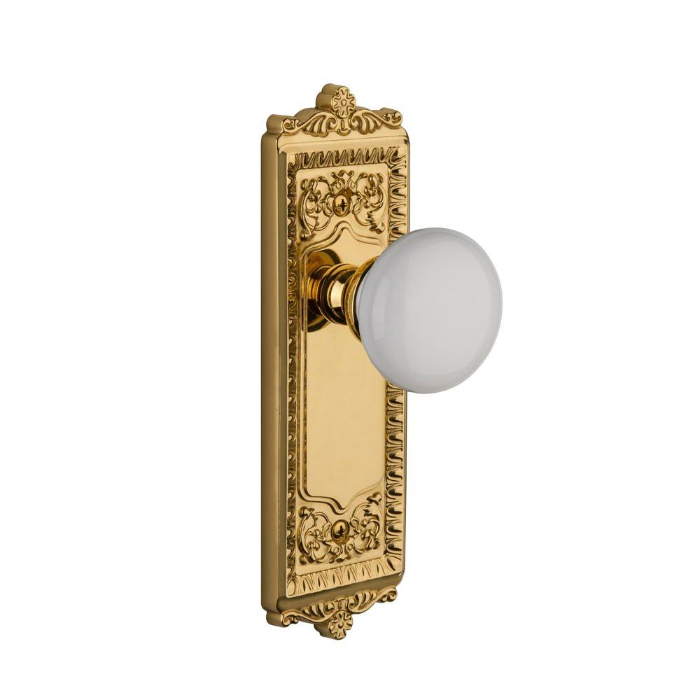 Grandeur Windsor Lifetime Brass Plate with Privacy Hyde Park Knob