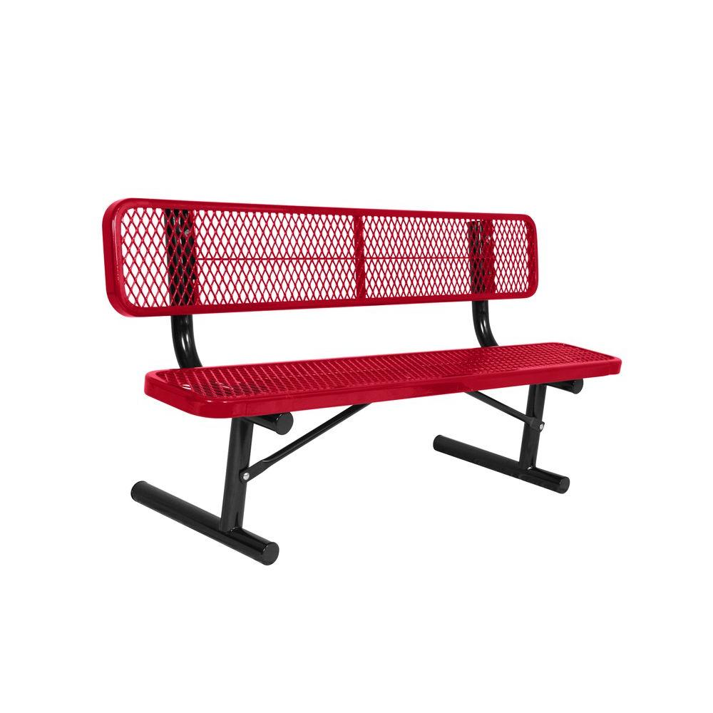 Portable 6 ft. Red Diamond Commercial Park Bench with Back
