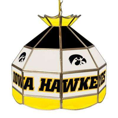 University of Iowa 16 in. Gold Hanging Tiffany Style Billiard Lamp