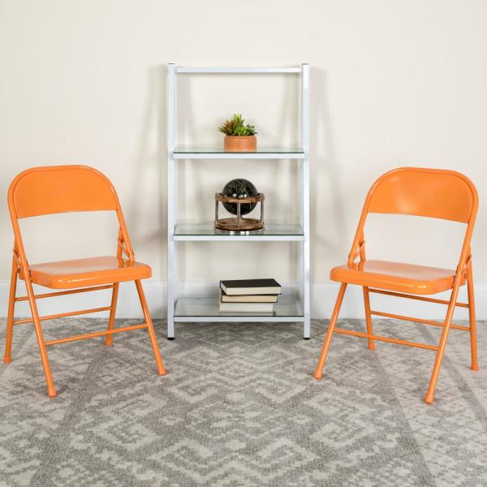 Flash Furniture Hercules COLORBURST Series Orange Marmalade Triple Braced &