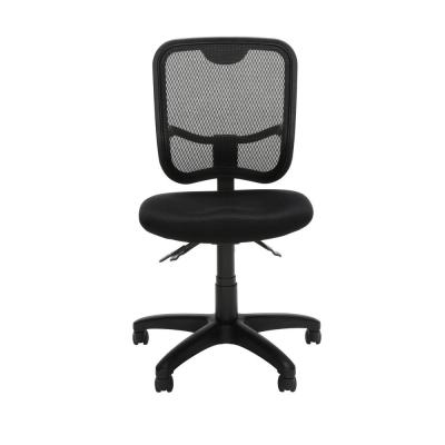 Black Armless Task Chair Core Collection Comfort Series in Ergonomic Mesh Mid Back