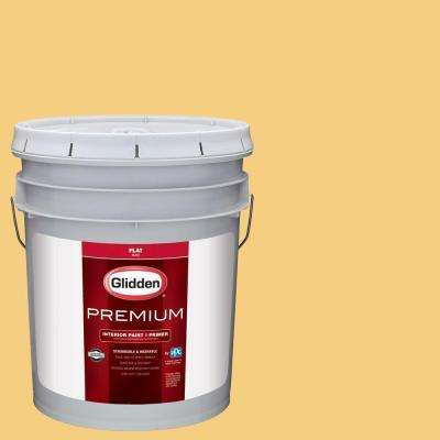 5 gal. #HDGY20 Mayapple Yellow Flat Interior Paint with Primer