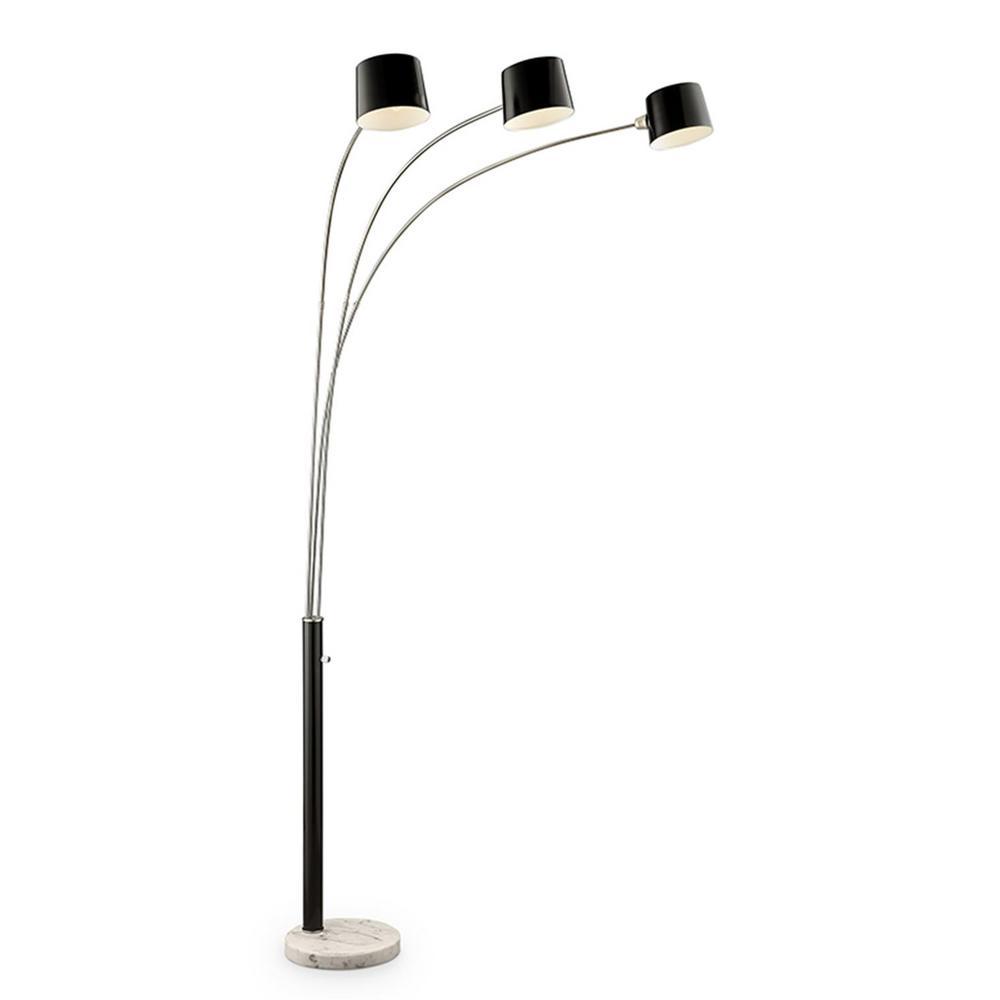 Nova 81 in. Black 3-Arc Floor Lamp