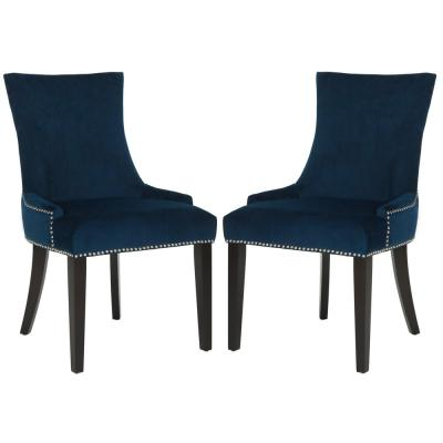 Lester Navy/Espresso 19 in. H Dining Chair (Set of 2)