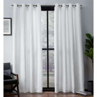 Leeds 52 in. W x 96 in. L Woven Blackout Grommet Top Curtain Panel in Winter White (2 Panels)