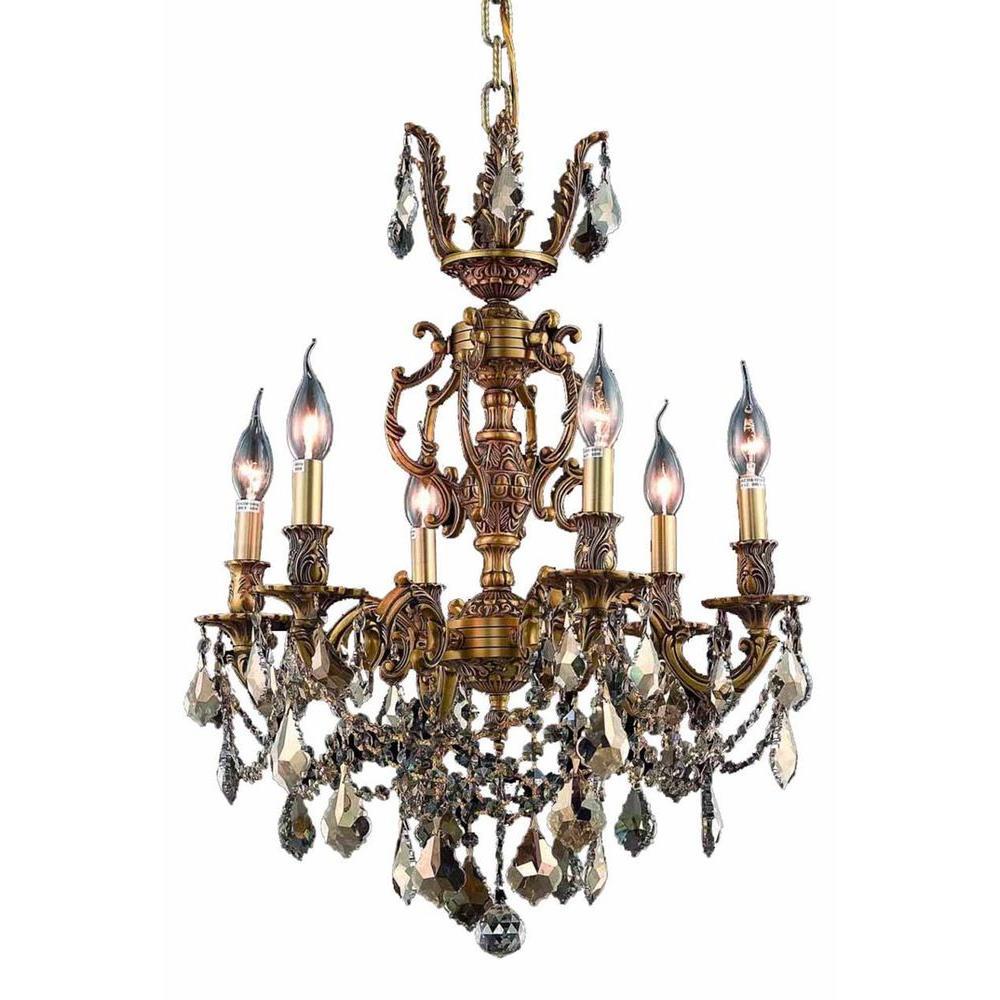 Elegant lighting 6 light french gold chandelier with golden teak elegant lighting 6 light french gold chandelier with golden teak smoky crystal arubaitofo Gallery