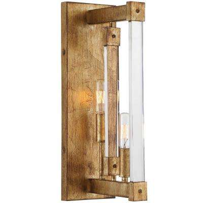 Halcyon 2-Light Antiqued Gold Leaf Wall Sconce