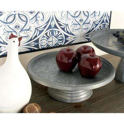 13 in. Round Gray and Black Iron Cake Stand