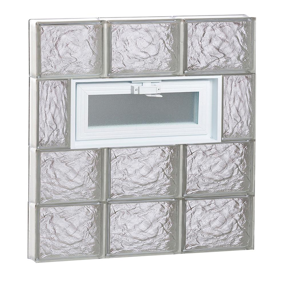 Clearly Secure 23.25 in. x 25 in. x 3.125 in. Frameless Vented Ice Pattern Glass Block Window