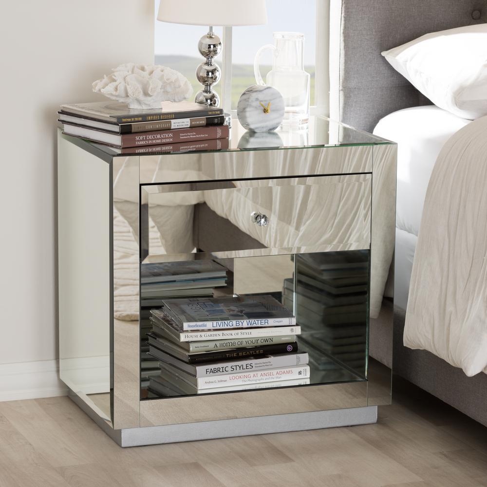 Melanie 1-Drawer 1-Shelf Silver Metallic Nightstand