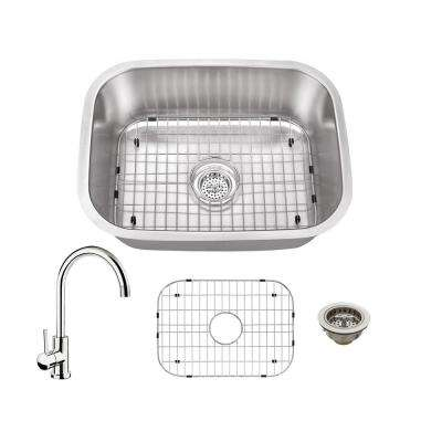 All-in-One Undermount Stainless Steel 23.4375 in. Single Bowl Kitchen Sink with Polished Chrome Kitchen Faucet