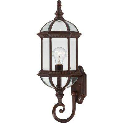 1-Light Rustic Bronze Outdoor Wall Mount Lantern